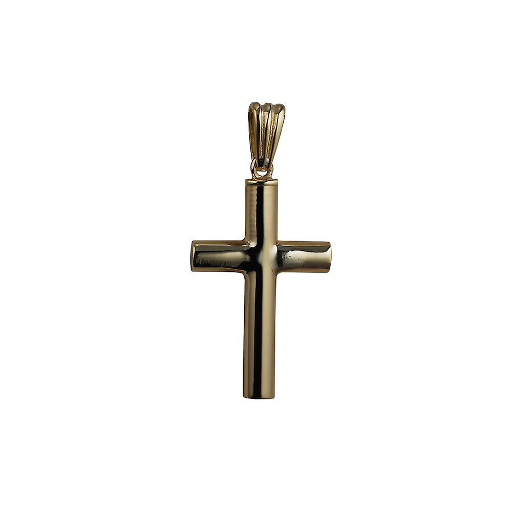 9ct Gold 32x18x4mm handmade plain Memorial Cross