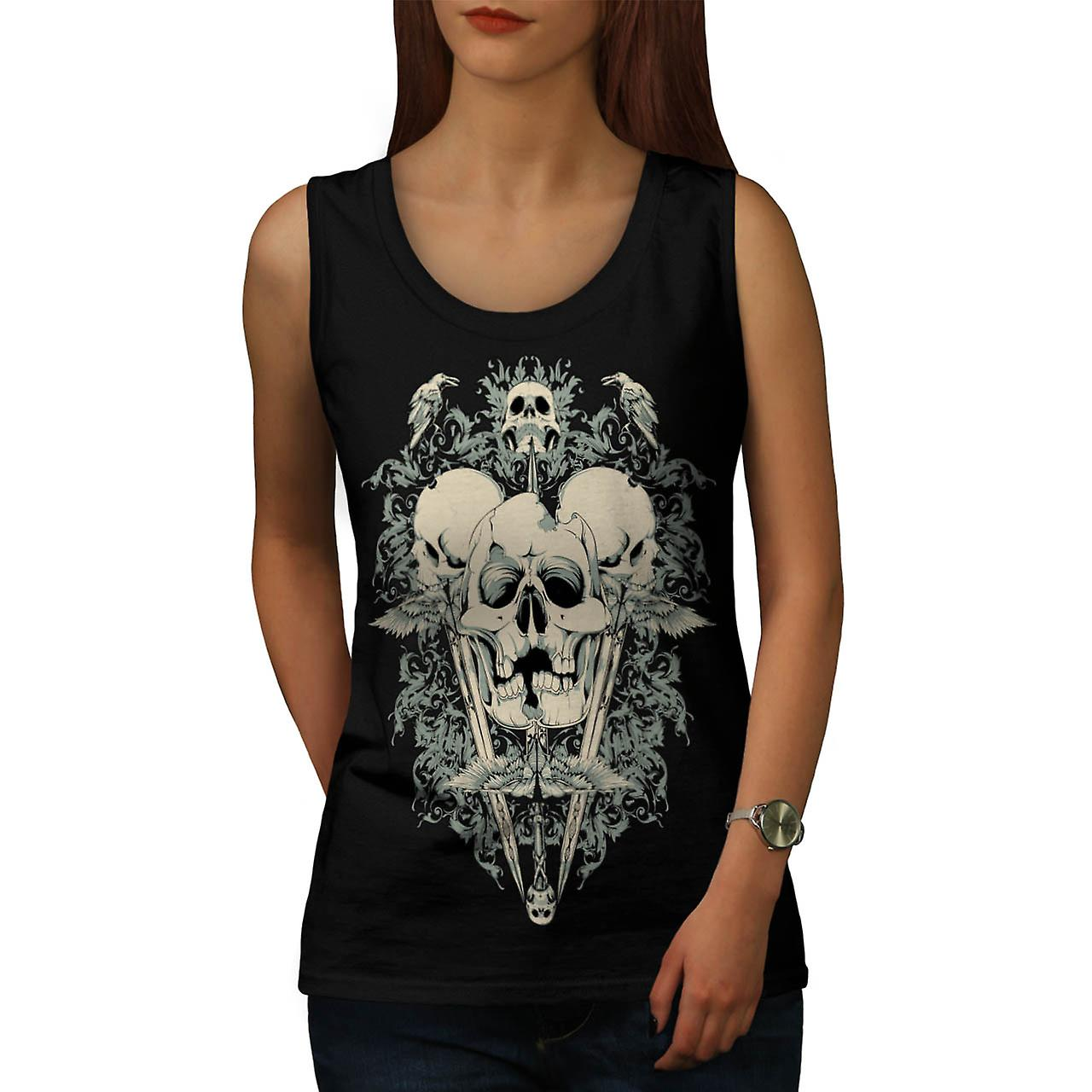 Deadly Knife Crow Skull Crack Teeth Women Black Tank Top | Wellcoda