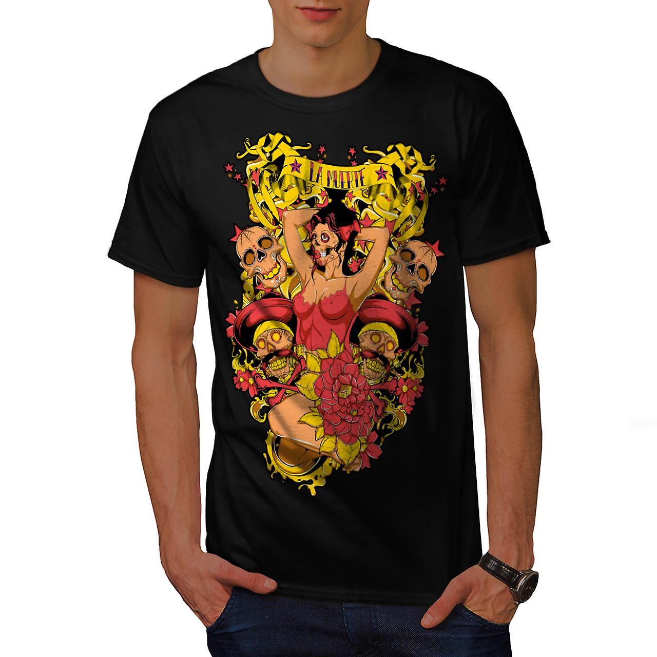 Horror Skull Hot Lady Death Girl Men Black T-shirt | Wellcoda