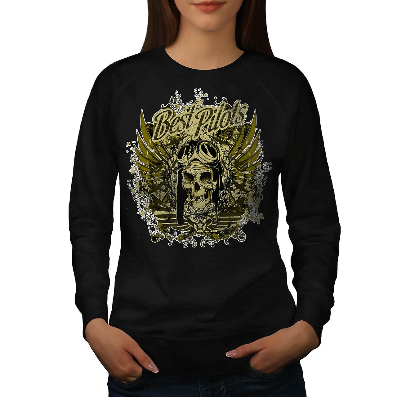 Best Pilot War Cool Skull Women Black Sweatshirt | Wellcoda