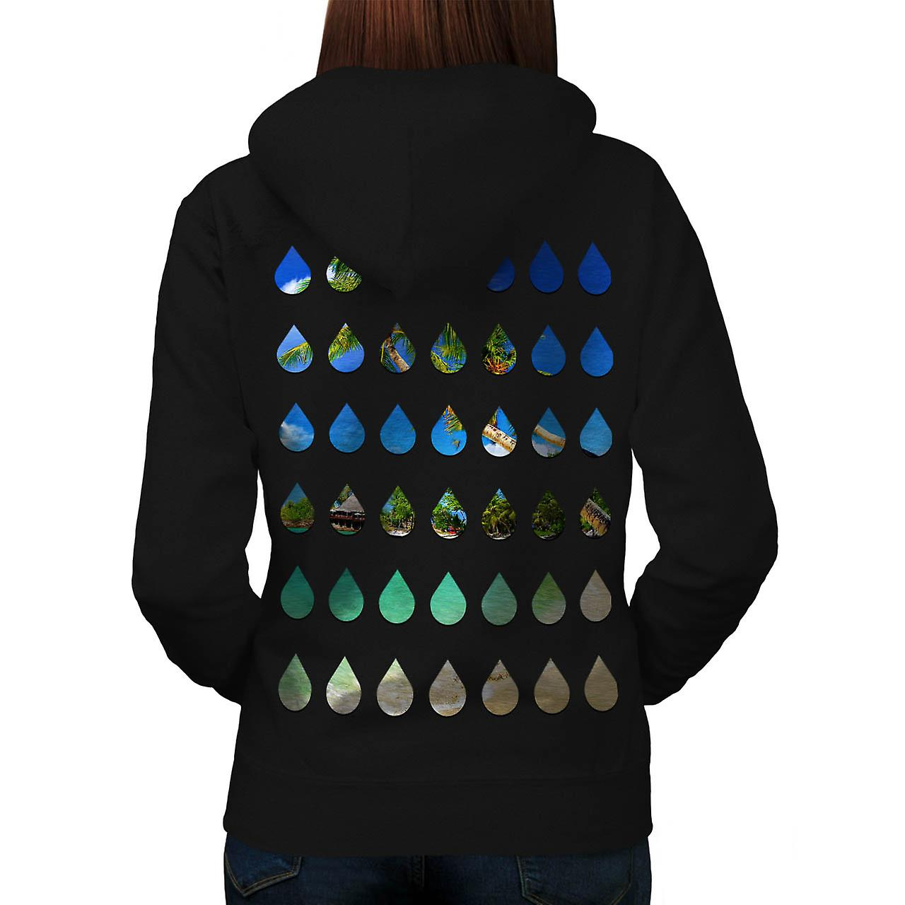Holiday Rain Drops Vacation Tears Women Black Hoodie Back | Wellcoda