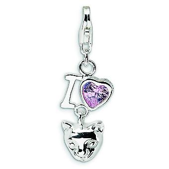 Sterling Silver Polished Rhodium-plated Fancy Lobster Closure Cubic Zirconia I Love Cats With Lobster Clasp Charm - Meas