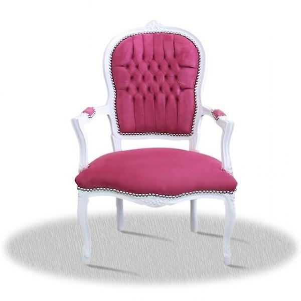 baroquearmchair carved white laquere lilac fabric
