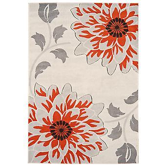 Kampala Orange & Grey Flower Modern Rug