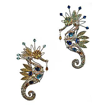 Funky Seahorse Baguette Jewels Holiday Ornament Set of 2 Katherines Collection
