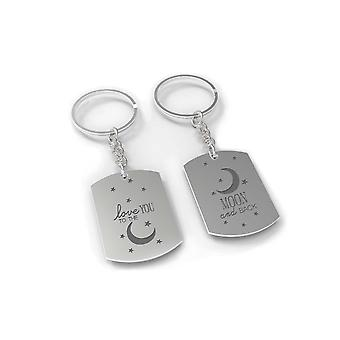 I Love You to the Moon and Back Couple Key Chain Set - His and Hers Key Rings