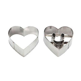 Swift Smiley Face Heart Shape Cookie Cutters, Set of 2