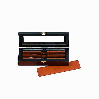 Deluxe elm burl box for 2 straight razors set Direct from France