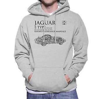 Haynes Workshop Manual 0140 Jaguar E Type 6 Cyl Black Men's Hooded Sweatshirt