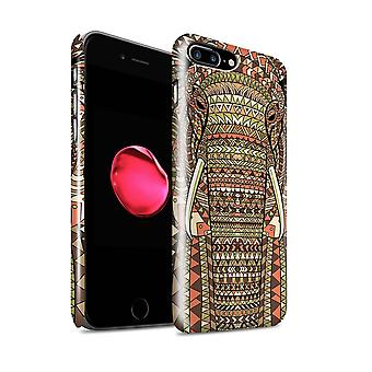 STUFF4 Gloss Hard Back Snap-On Phone Case for Apple iPhone 7 Plus / Elephant-Sepia Design / Aztec Animal Design Collection