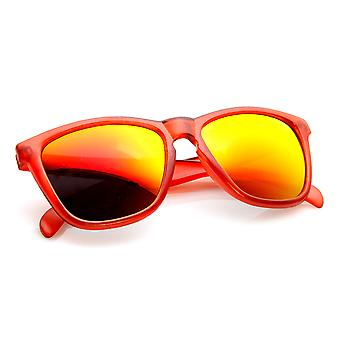 Action Sports Flash Mirror Lens Frosted Horn Rimmed Sunglasses