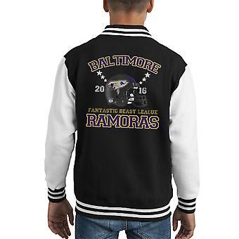 Phantastische Tierwesen Liga Baltimore Ramoras Helm Kid Varsity Jacket