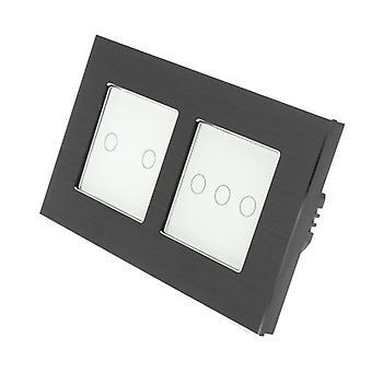 I LumoS Black Brushed Aluminium Double Frame 5 Gang 1 Way Remote Touch LED Light Switch White Insert