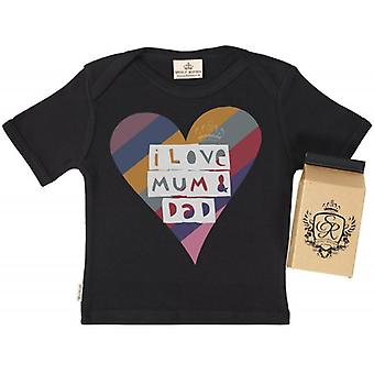 Spoilt Rotten Love Mum & Dad Babys T-Shirt 100% Organic In Milk Carton