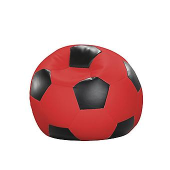 Bean bag cushion football red and black leatherette 80 x 80 x 80 cm