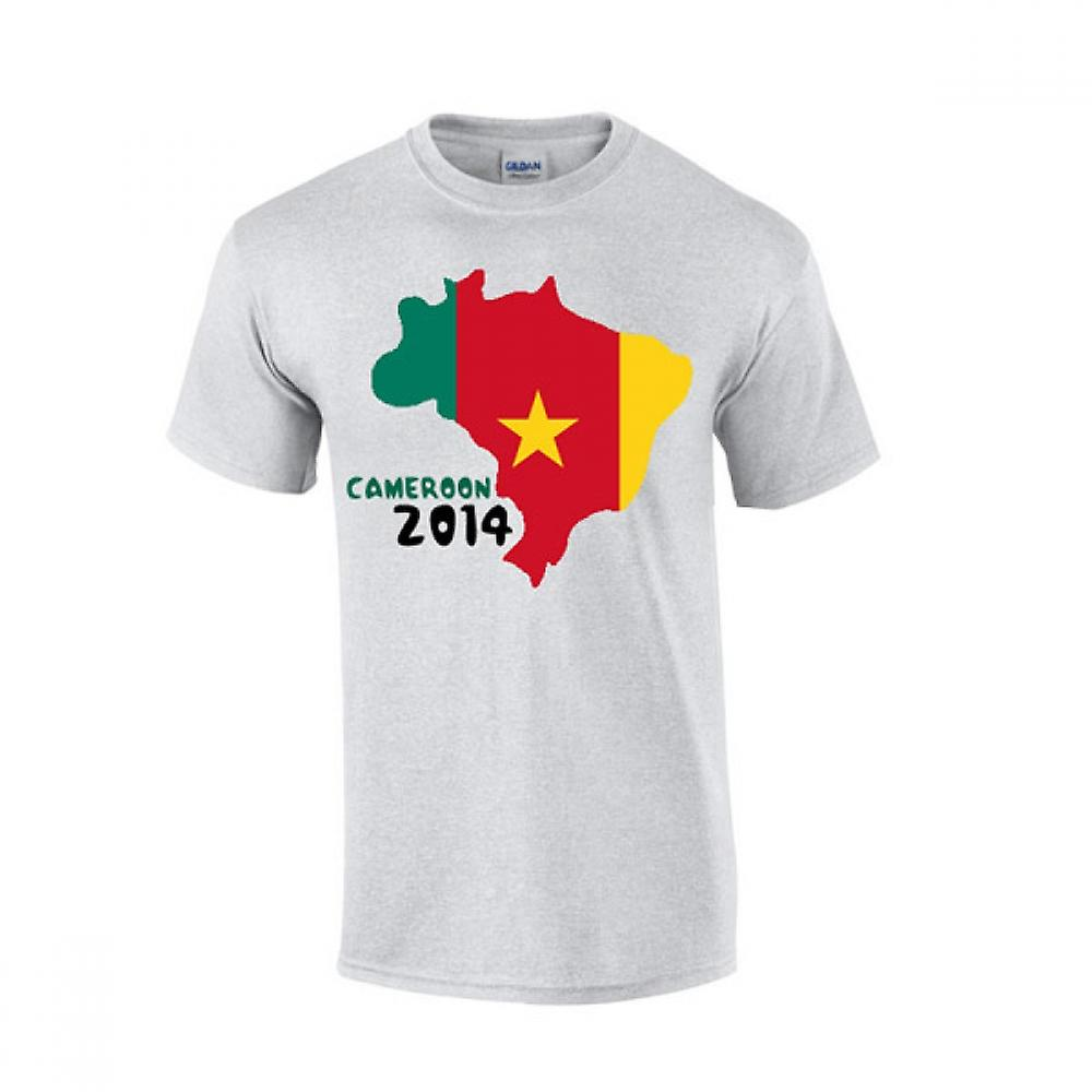 Cameroon 2014 Country Flag T-shirt (grey)