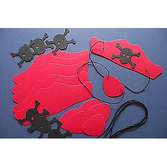 SALE -  6 Red Card Pirate Hats & Patches Kit for Kids Crafts & Parties