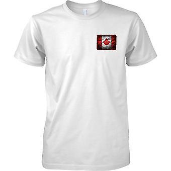 Canada Grunge Grunge Effect Flag - Maple Leaf - Mens Chest Design T-Shirt
