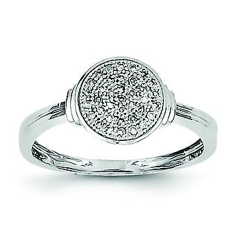Sterling Silver Polished Rhodium-plated Diamond Ring - Ring Size: 6 to 8