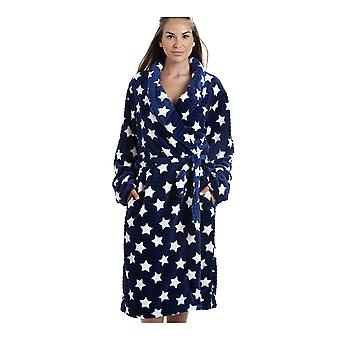 Camille Navy Blau Supersoft Velours Fleece weiße Sterne Print Schal Kragen Bademantel