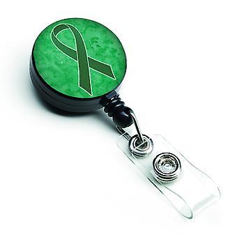 Cinta verde del Kelly para riñón cáncer conciencia insignia Retractable carrete