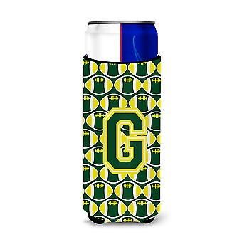 Letter G Football Green and Yellow Ultra Beverage Insulators for slim cans