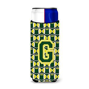 La letra G del balompié verde y amarillo Ultra aisladores de bebida para latas de slim