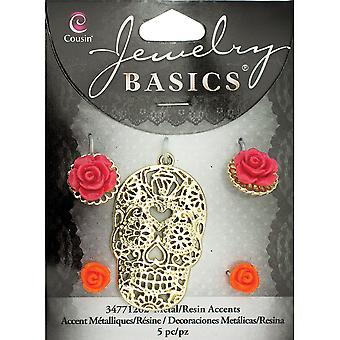 Jewelry Basics Metal Accent 1/Pkg-Resin Gold Skull W/Roses 5/Pkg JBMA1-1262