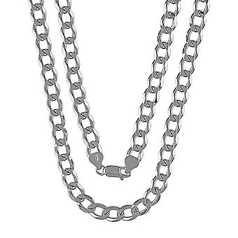 Chunky Solid Sterling Silver 925 Mens Gents Heavy Curb Cuban Chain Necklace Width 7mm