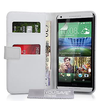 HTC Desire 816 Leather-Effect Wallet Case - White