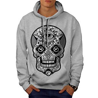 Eye Skull Head Men GreyHoodie | Wellcoda