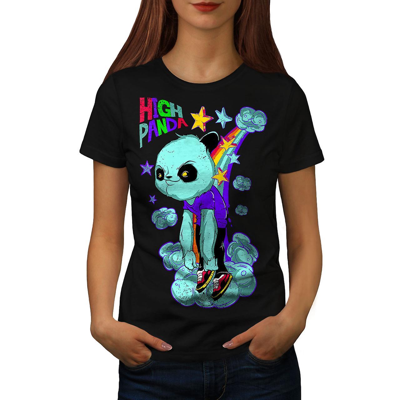 High Evil Panda China Women Black T-shirt | Wellcoda