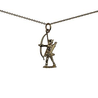 9ct Gold 14x26mm Robin Hood with bow and arrows Pendant with a cable Chain 16 inches Only Suitable for Children