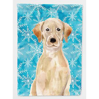 Carolines Treasures  BB9436CHF Yellow Labrador Winter Flag Canvas House Size