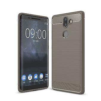 Nokia 9 TPU case carbon fiber optics brushed protection cover grey