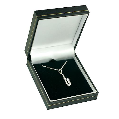 Silver 25x8mm solid Saxophone Pendant with a rolo Chain 16 inches Only Suitable for Children