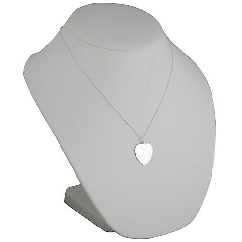 Silver 24x21mm plain Heart Disc with a Curb chain