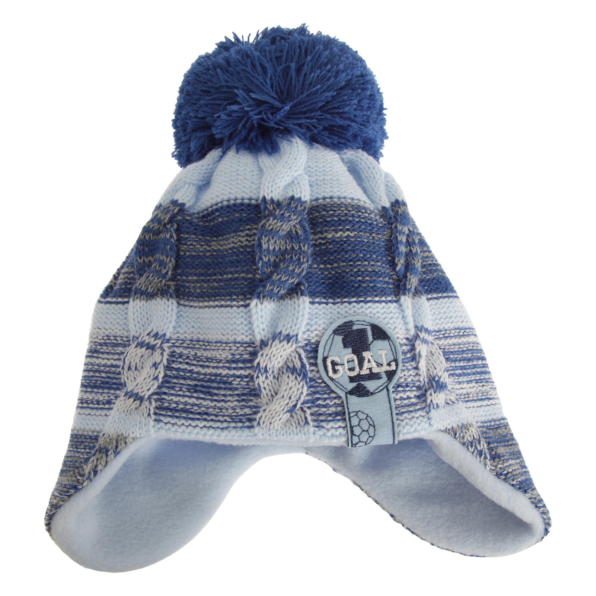 Kindergarten Zeit Baby Jungen Fußball Winter Ohr wärmer Pudelmütze