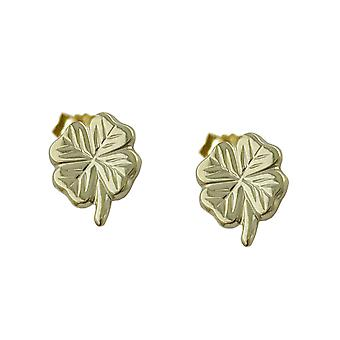 Lucky Clover Leaf 9kt gold Ohrringe