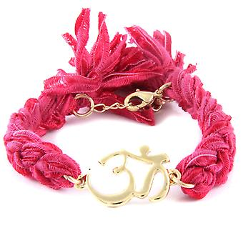 Ettika - Om in Yellow Gold Bracelet and cotton ribbons braided Roses