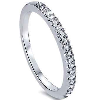 1 / 4ct Diamond trouwring 14K White Gold effenen Franse Set