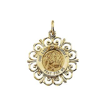 14k Yellow Gold Round Our Ldy Of Lourdes Pendant Mdl 18.5 - 1.6 Grams