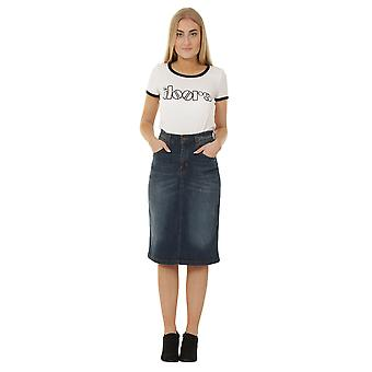 Denim Midi Skirt - Vintage Wash Denim below the knee Skirt with stretch