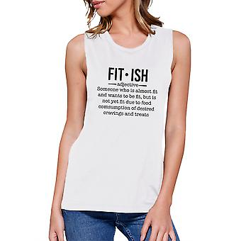 Fit-ish Womens White Cute Workout Tank Top Gym Muscle Shirt Gifts