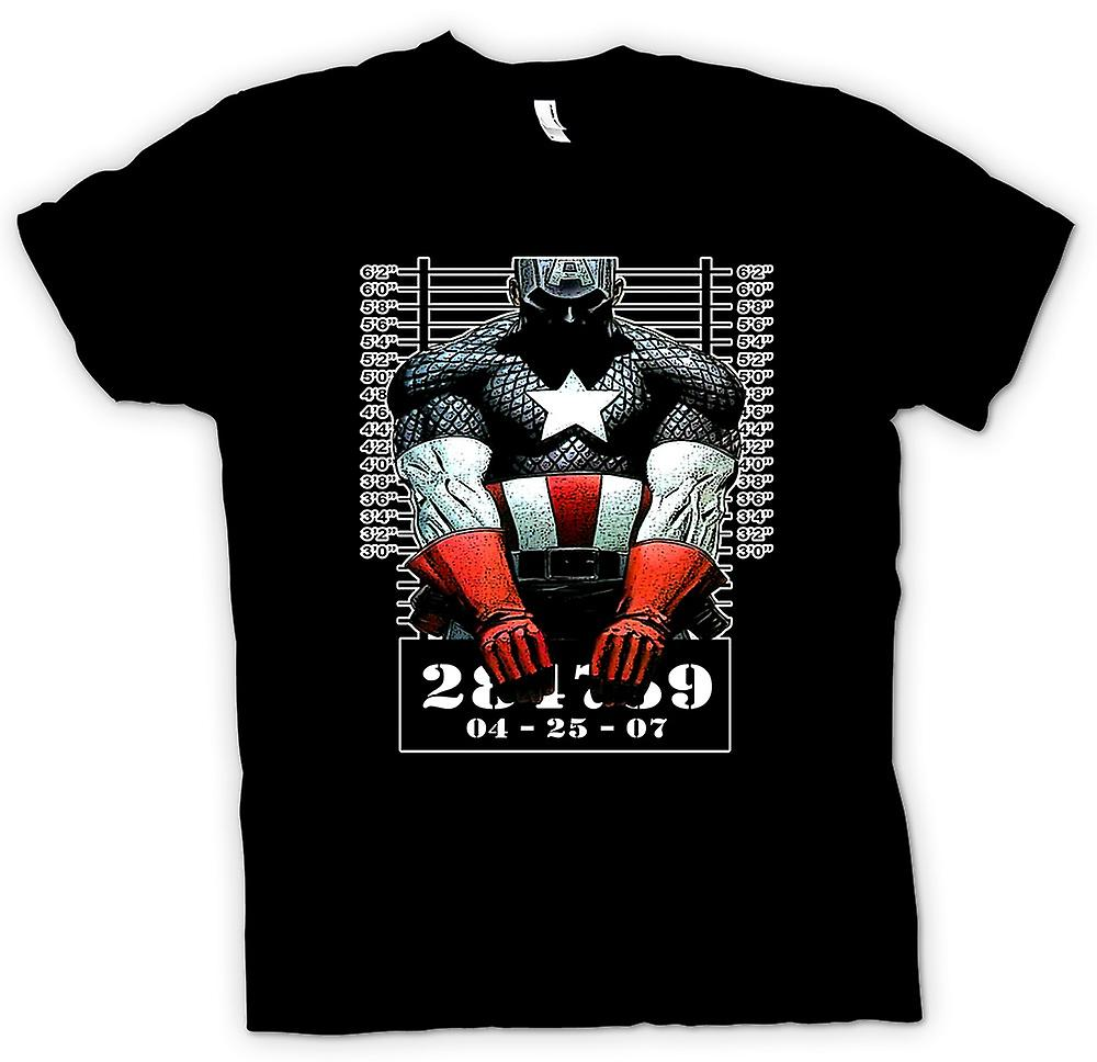 Mens T-shirt - Captain America - Cartoon - Fahndungsfoto