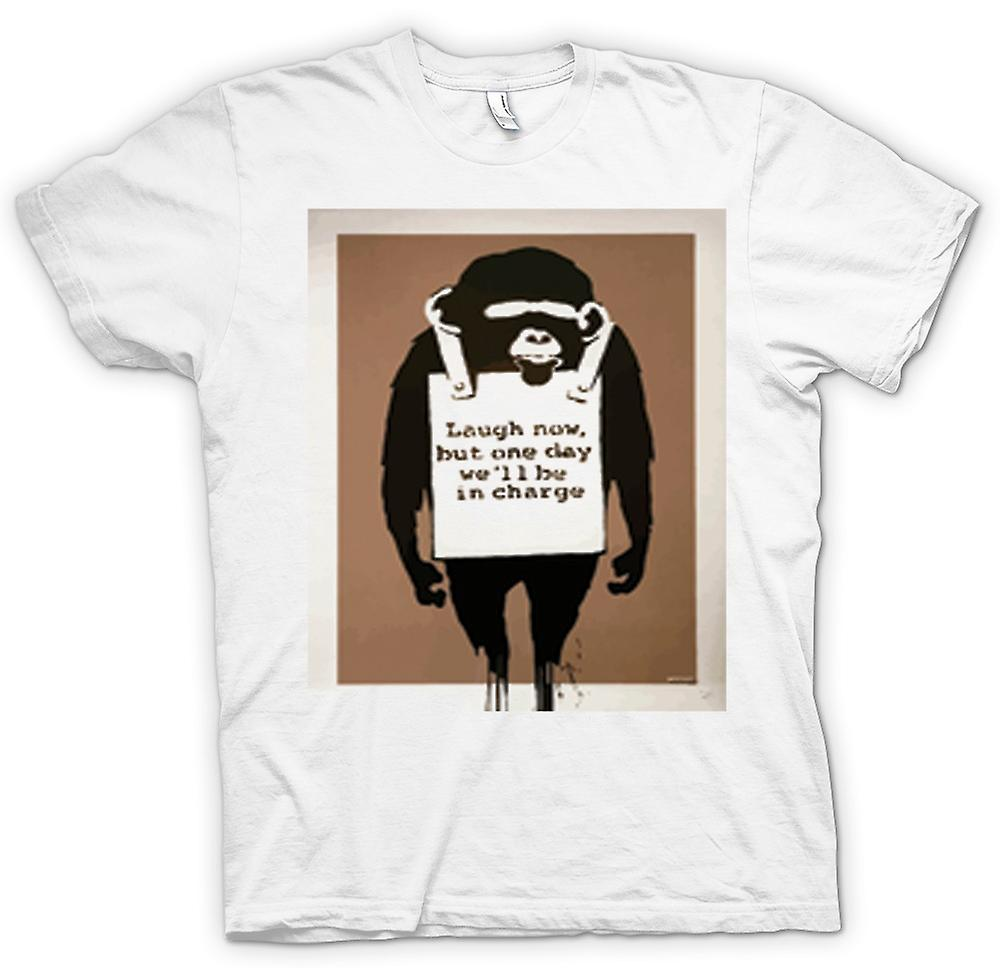 Mens t-shirt - Laugh Now ma un giorno saremo In carica Banksy