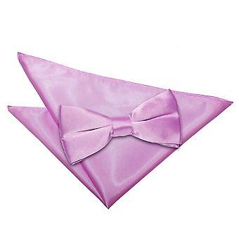 Lila Plain Satin Bow-Tie & Einstecktuch Satz