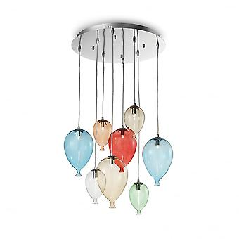Ideal Lux Clown 8 Glass Bubble Coloured Glass Pendant Light