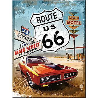 Route 66 Red Car Steel Fridge Magnet
