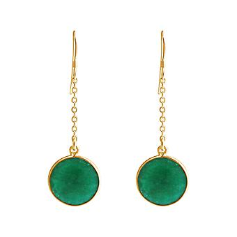 GEMSHINE ladies earrings made of high-quality gold-plated 925 Silver. 4.5 cm Yoga earrings with excellent quality emeralds. Made in Madrid, Spain. In the elegant jewelry with gift box.